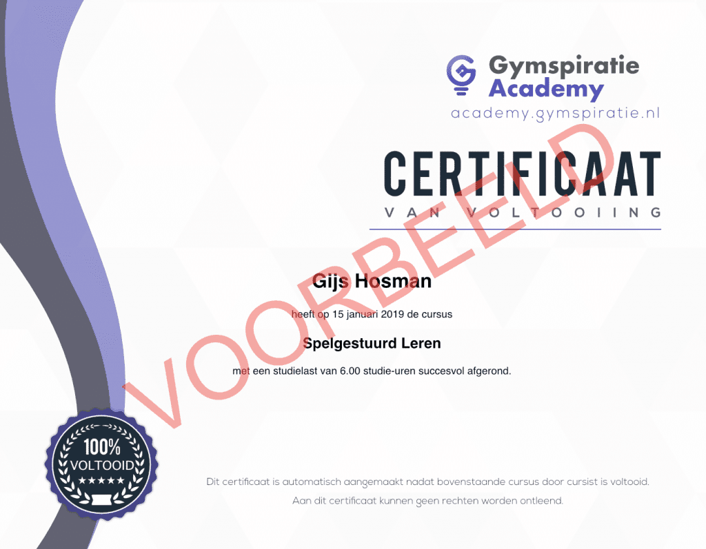Gymspiratie Academy Certificaat